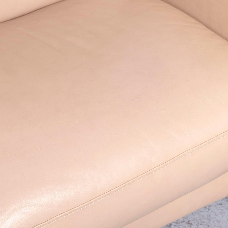 Ekornes Stressless Designer Leather Sofa Beige Four-Seat Recliner Couch  3