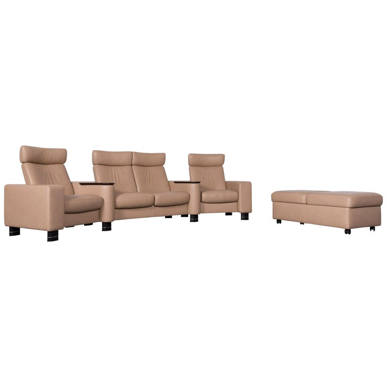 Ekornes Stressless Designer Leather Sofa Beige Four-Seat Recliner Couch