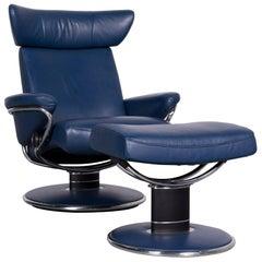 Ekornes Stressless Jazz M Designer Leather Office Chair Blue Recliner