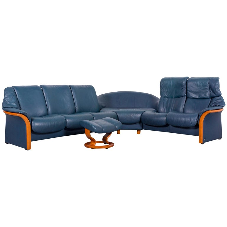 Ekornes Stressless Leather Corner Sofa Blue and Foot-Stool