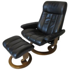 Ekornes Stressless Leather Lounge Chair with Ottoman Norway