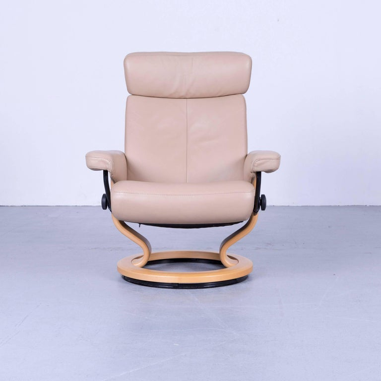 German Ekornes Stressless Orion Armchair And Footstool Beige Leather Recliner Chair For