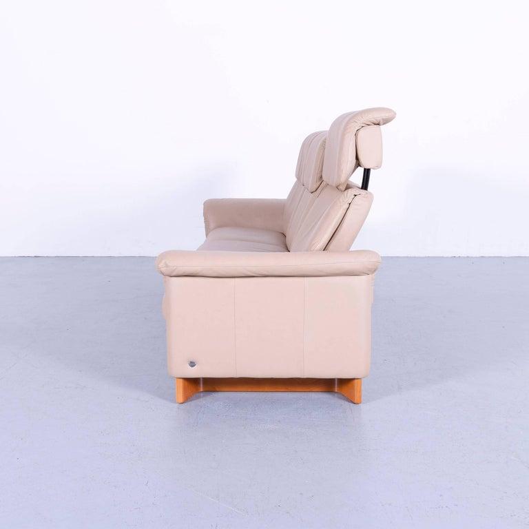 Ekornes Stressless Paradise Sofa Set Beige Leather Three Seat Recliner At 1stdibs