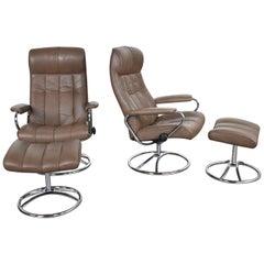 Ekornes Stressless Scandinavian Modern Lounge Chairs & Ottomans Leather & Chrome