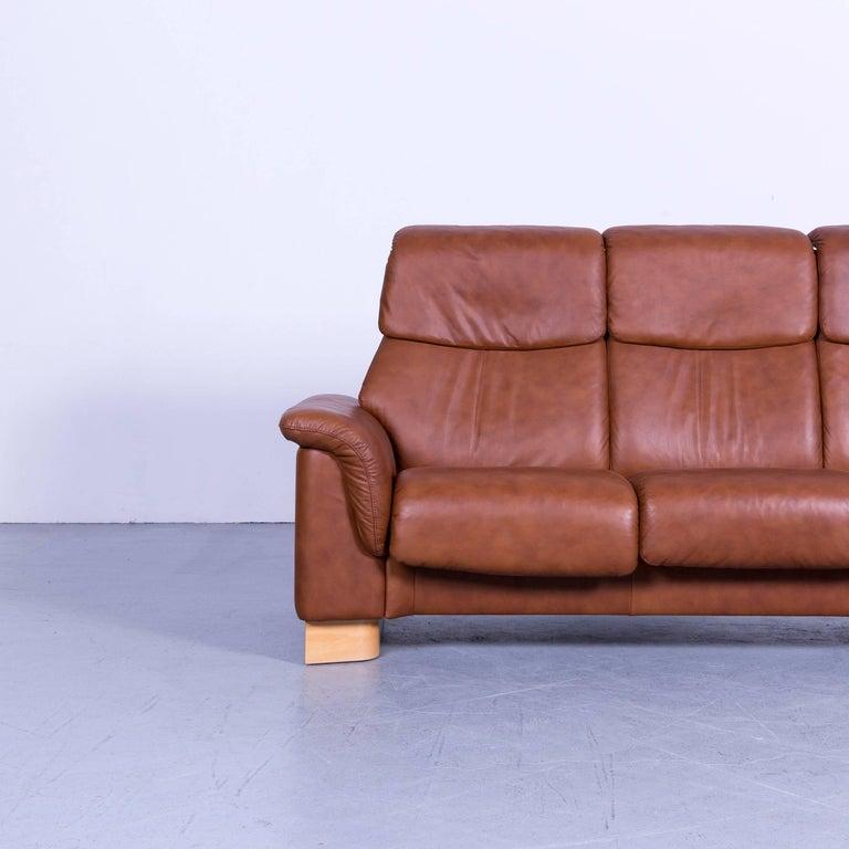 Ekornes Leather Sofa: Ekornes Stressless Sofa Brown Leather Three-Seat Recliner