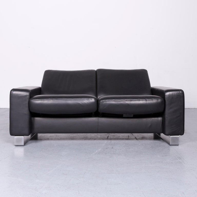 Norwegian Ekornes Stressless Space Leather Sofa Black Recliner