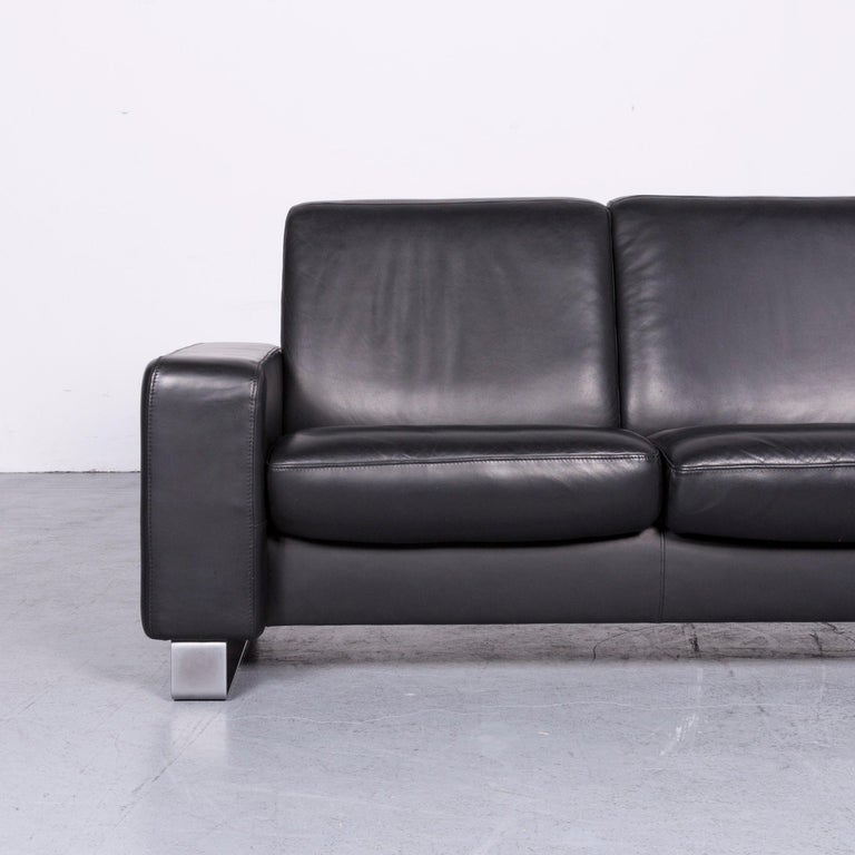 Ekornes Stressless Space Leather Sofa Black Recliner In Excellent Condition In Cologne, DE