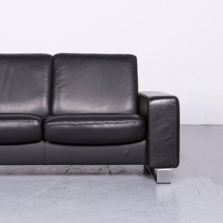 Ekornes Stressless Space Leather Sofa Black Recliner For Sale at 1stdibs