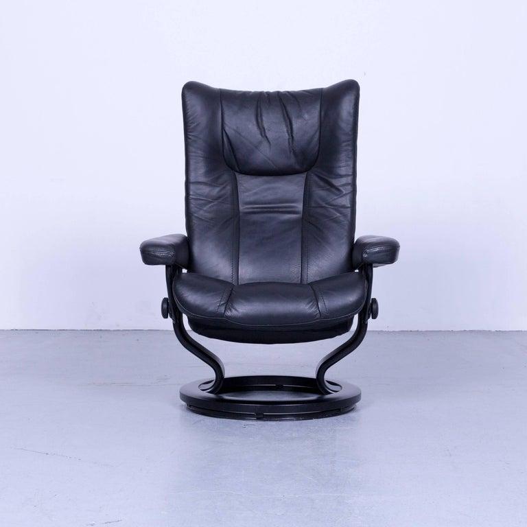 Ekornes Stressless Wing Armchair And Footstool Black