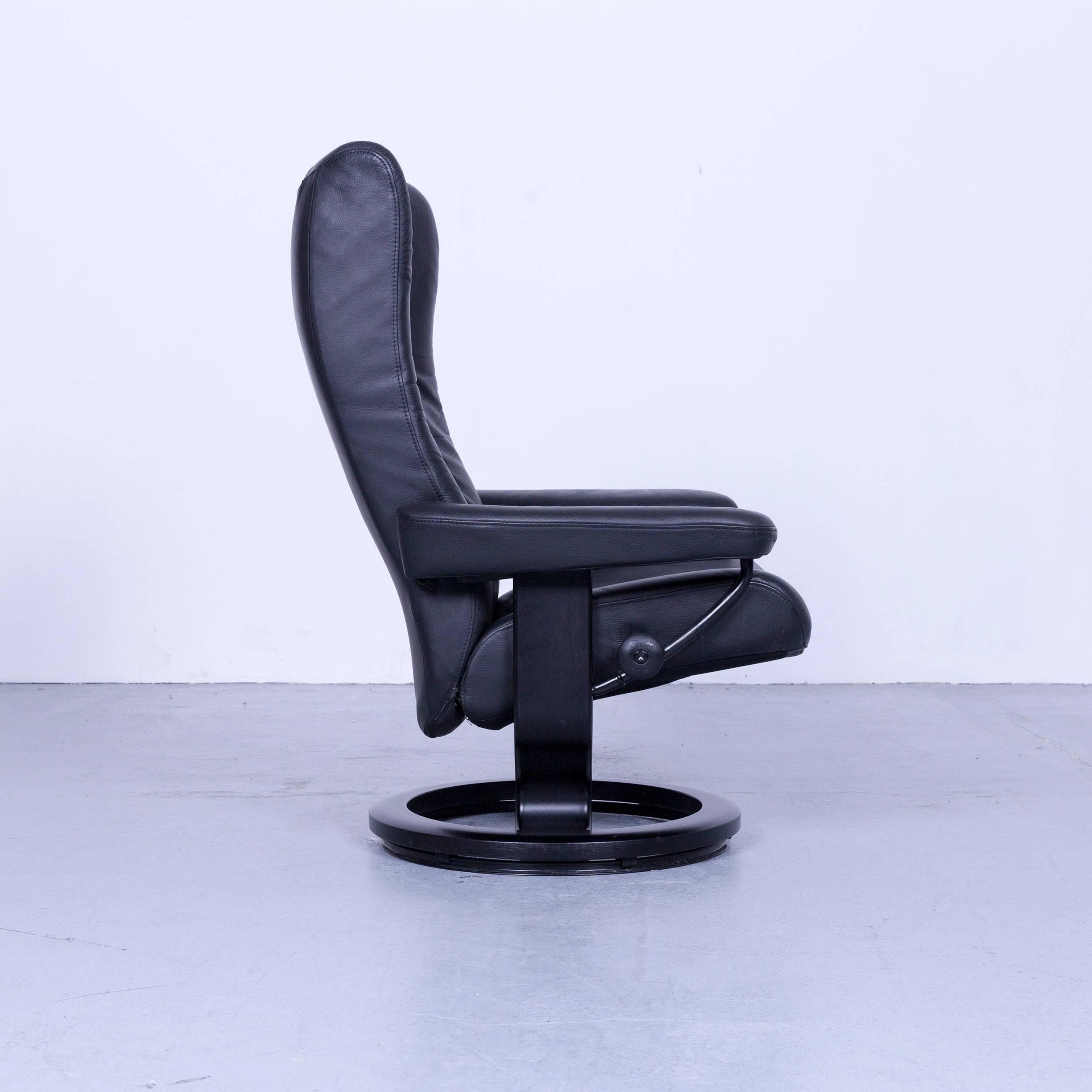 ekornes stressless wing armchair black leather modern recliner chair