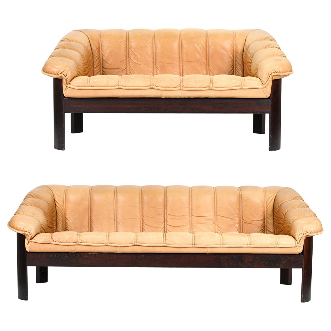Ekorness Norway Mid-Century Sofa & Loveseat in Brandy Leather