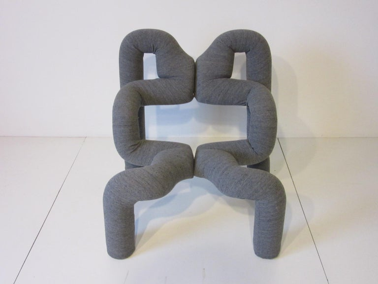 A vintage tubular foam covered with knit flannel sculptural chair designed by Terje Ekstrom called the Ekstrem chair. This chair is amazingly comfortable and a piece of art , made in Norway by Hjellegicrde Mobler.