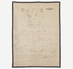 British Isles Quilt - illustrative embroidered silk map for wall hanging