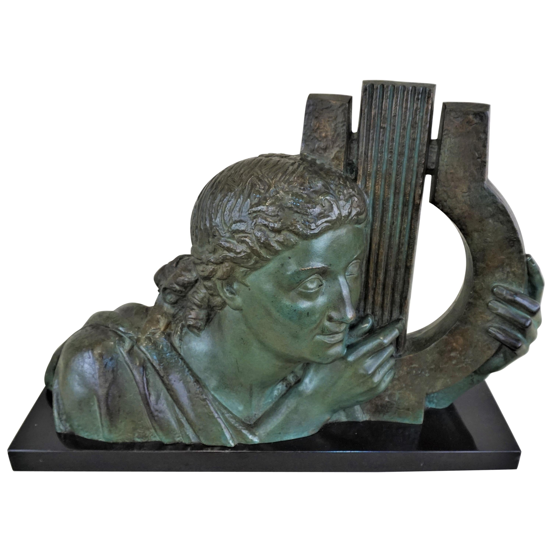E.L. Bracquemond Art Deco Sculpture of a Woman Bust with Harp, 1930s