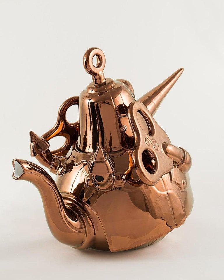 Enameled El Gato Chimney, Ceramic Sculpture, Superego Editions, Italy For Sale
