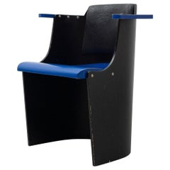 El Lissitzky D61 Black and Blue Chair Bauhaus Style for Tecta, circa 1970