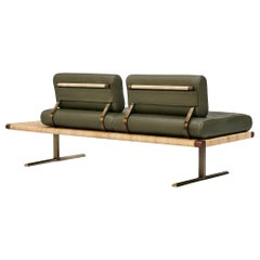 El Raval Rattan and Walnut Sofa by Yabu Pushelberg in Olive Leather