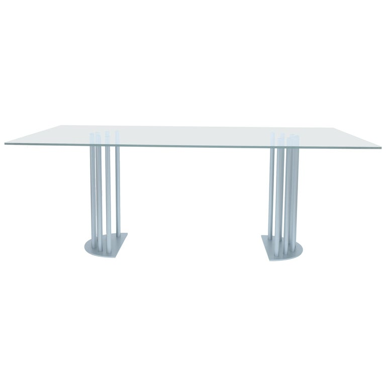 Ela Rectangular Luxury Table, Metal Half Round Base and Glass Top, Made in Italy For Sale