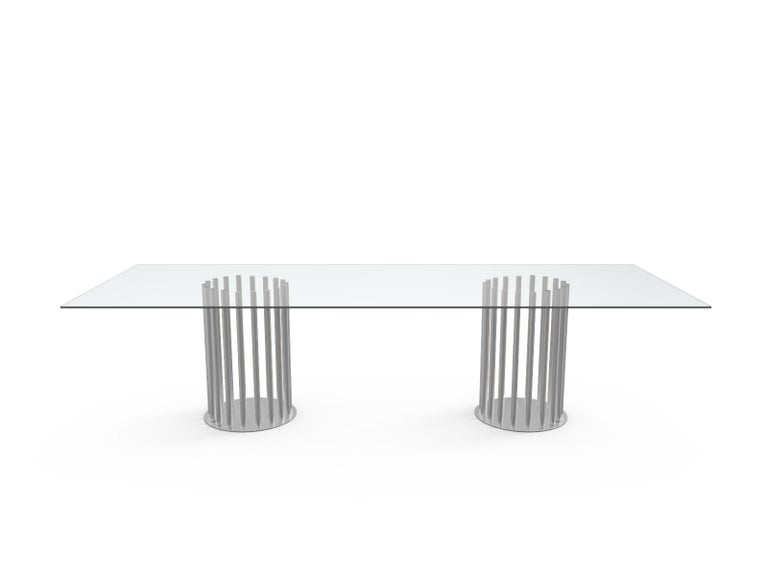 Italian Ela Rectangular Luxury Table, Metal Round Base and Glass Top, Made in Italy For Sale