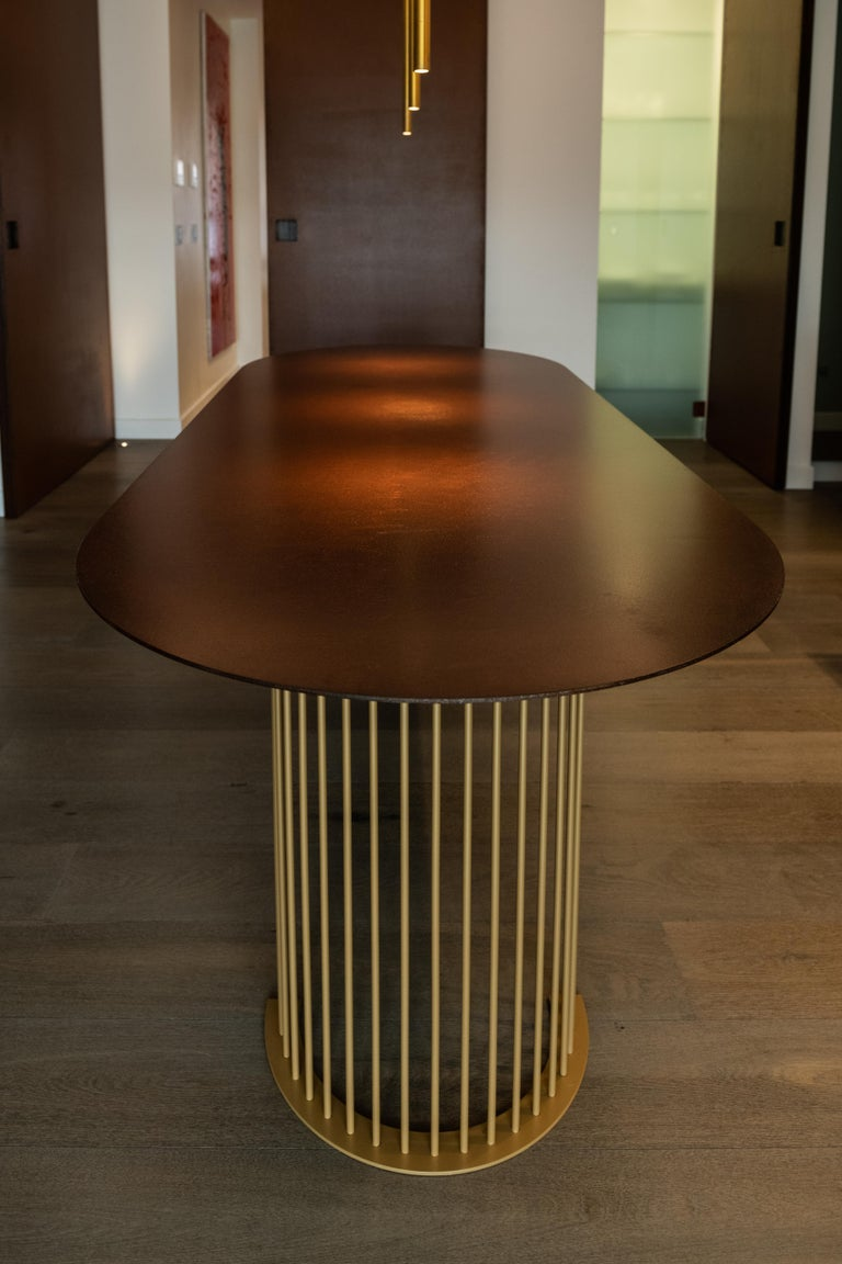 Contemporary Ela Luxury Table in Cor-ten steel, Made in Italy For Sale