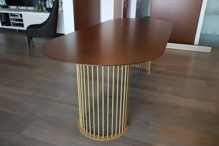 Metal Ela Luxury Table in Cor-ten steel, Made in Italy For Sale