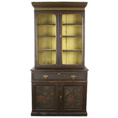 Elaborate Antique English Victorian Painted Bookcase