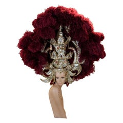 Elaborate Burgundy Red Ostrich Feather and Gold Showgirl Headdress Headpiece