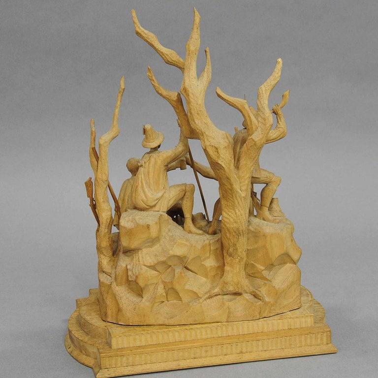 Elaborate Carved Tyrolian Group of Poachers in the Forest, circa 1880 For Sale 3