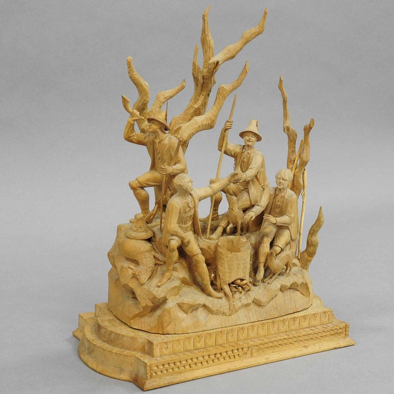 Black Forest Elaborate Carved Tyrolian Group of Poachers in the Forest, circa 1880 For Sale