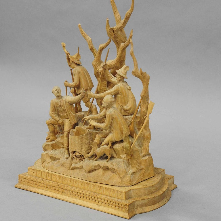 Swiss Elaborate Carved Tyrolian Group of Poachers in the Forest, circa 1880 For Sale