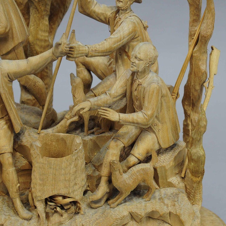 Elaborate Carved Tyrolian Group of Poachers in the Forest, circa 1880 In Good Condition For Sale In Berghuelen, DE