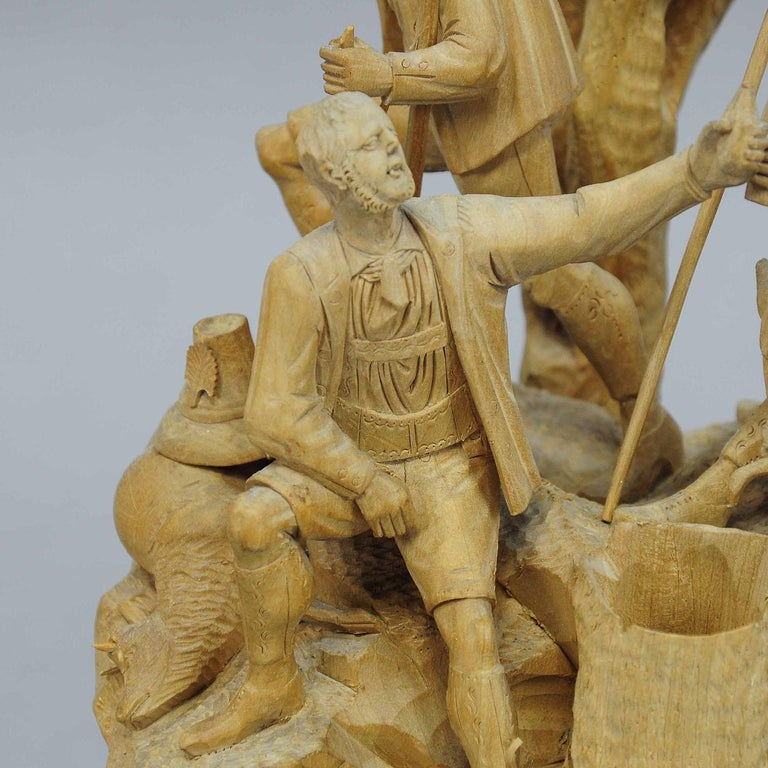 20th Century Elaborate Carved Tyrolian Group of Poachers in the Forest, circa 1880 For Sale