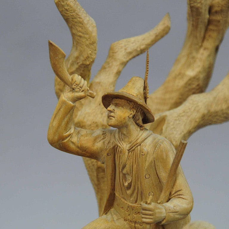 Elaborate Carved Tyrolian Group of Poachers in the Forest, circa 1880 For Sale 2