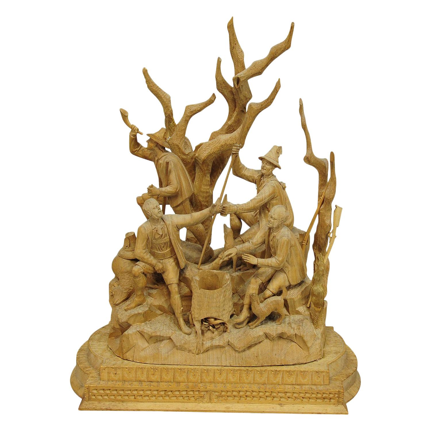 Elaborate Carved Tyrolian Group of Poachers in the Forest, circa 1880