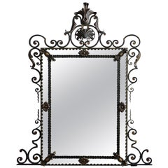 Elaborate French Iron Framed Mirror with Painted and Gilded Finish