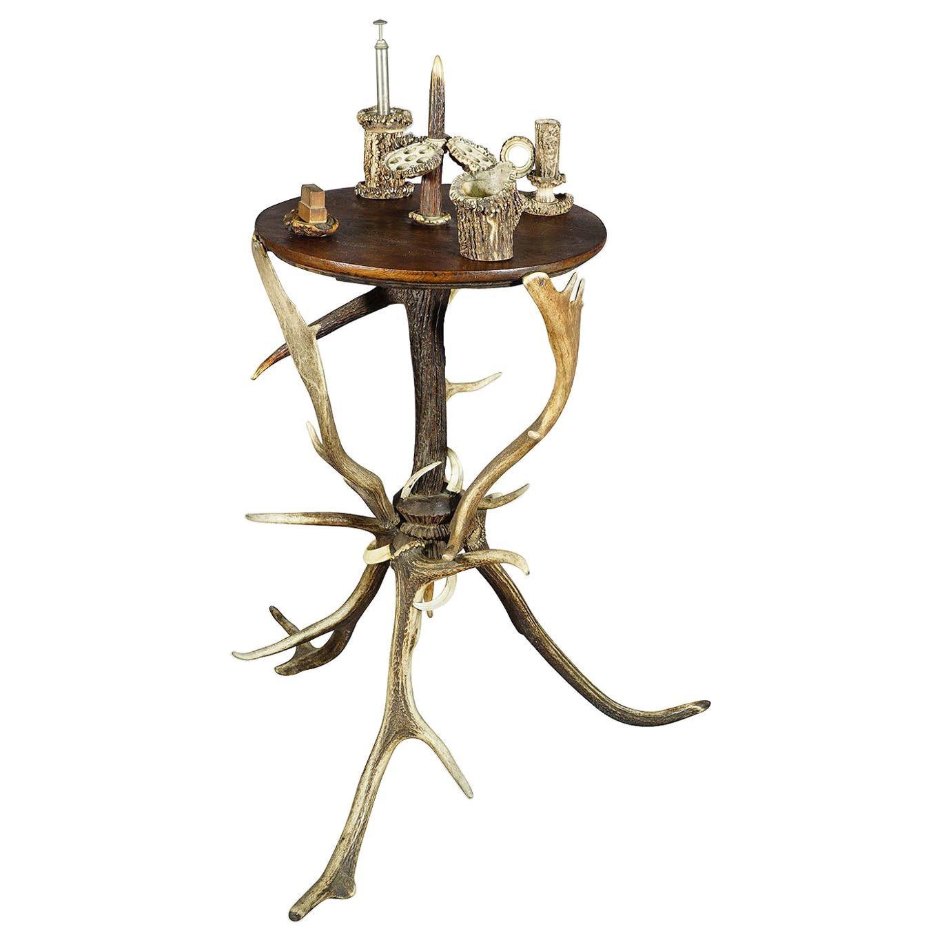 Elaborate Handmade Black Forest Style Antler Smoking Table, circa 1900
