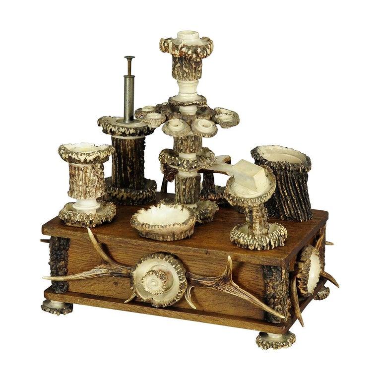 Elaborate Handmade Black Forest Style Smoking Set, circa 1900 For Sale