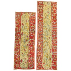 Elaborate Pair of Antique 20th Century Wool Turkish Oushak Runners