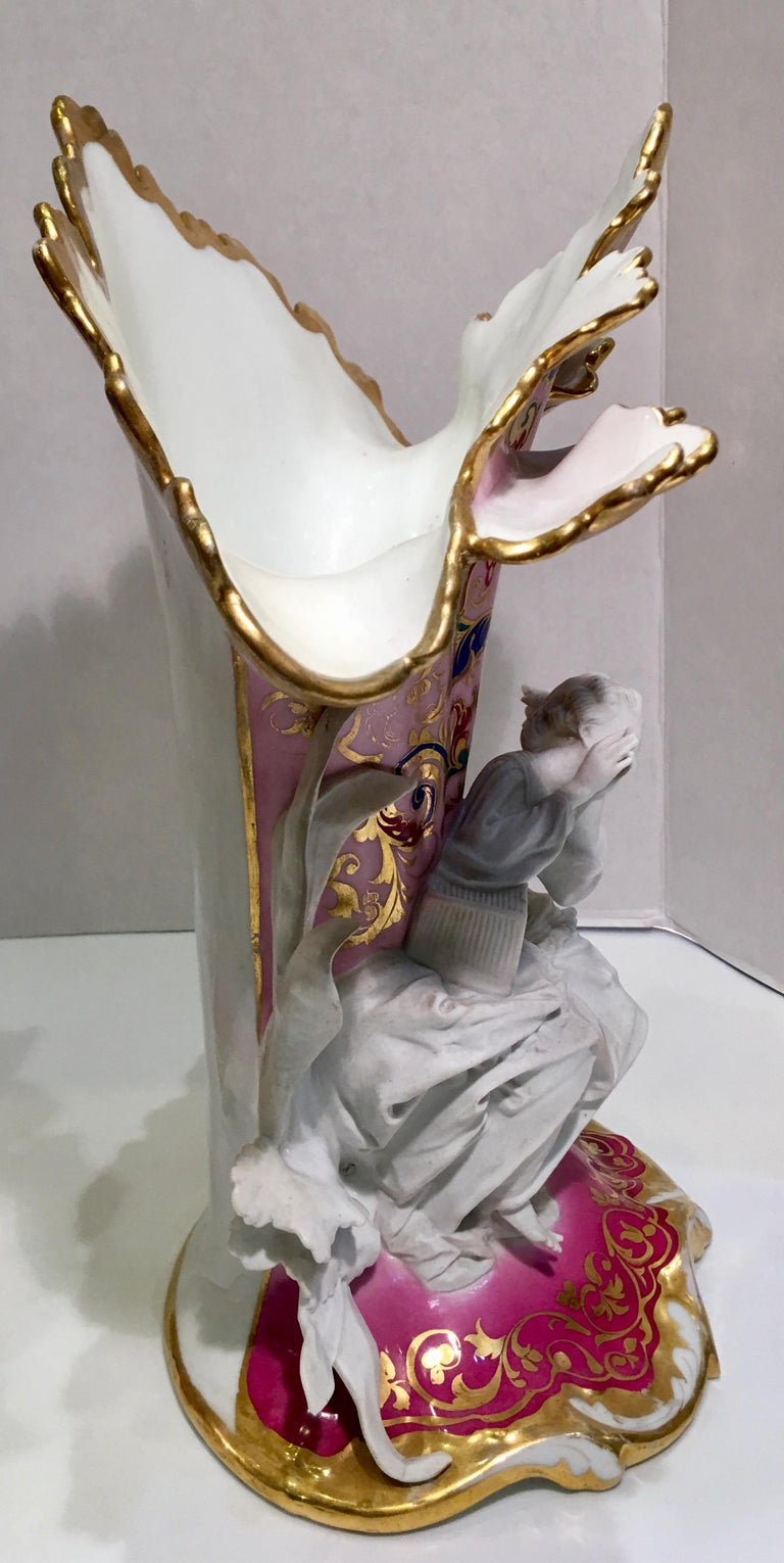 Elaborate Pair of French Old Paris Antique Porcelain and Bisque Rococo Vases For Sale 5