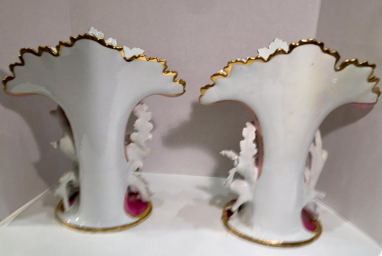 Elaborate Pair of French Old Paris Antique Porcelain and Bisque Rococo Vases For Sale 8