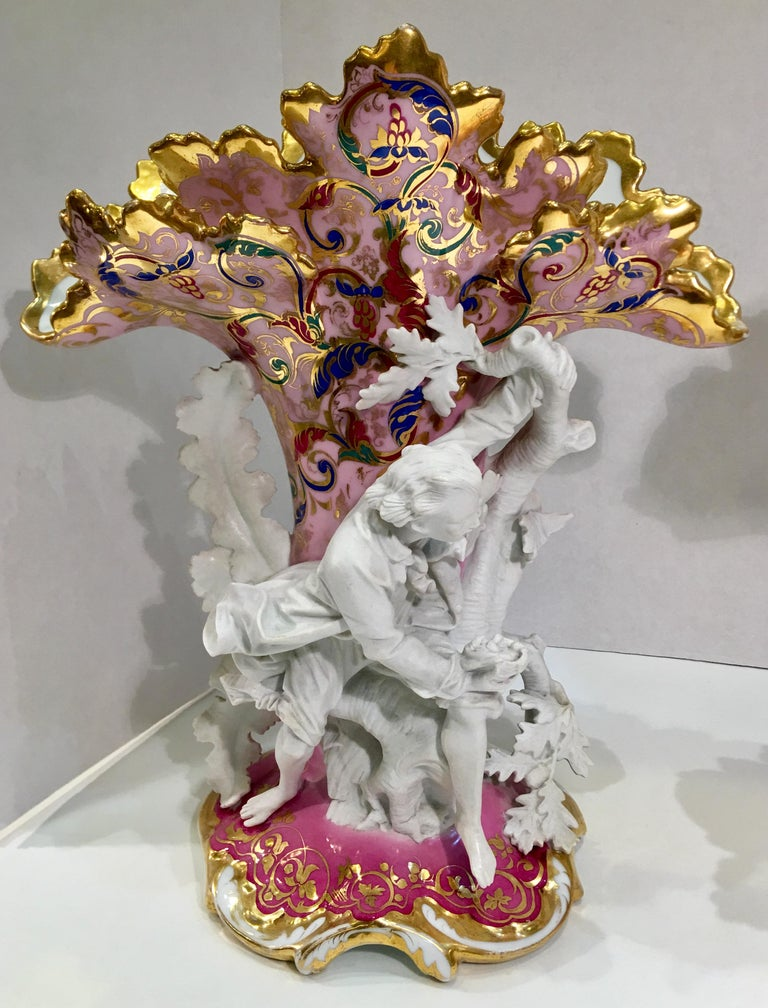 Hand-Crafted Elaborate Pair of French Old Paris Antique Porcelain and Bisque Rococo Vases For Sale