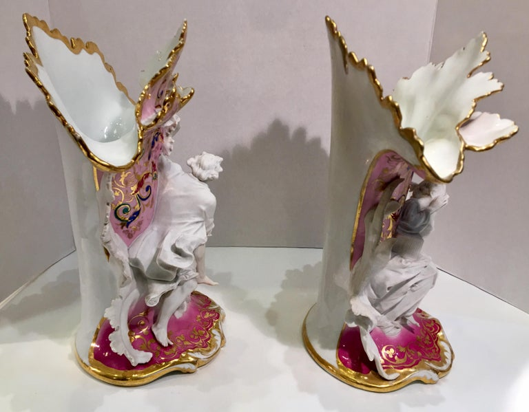 Elaborate Pair of French Old Paris Antique Porcelain and Bisque Rococo Vases For Sale 3