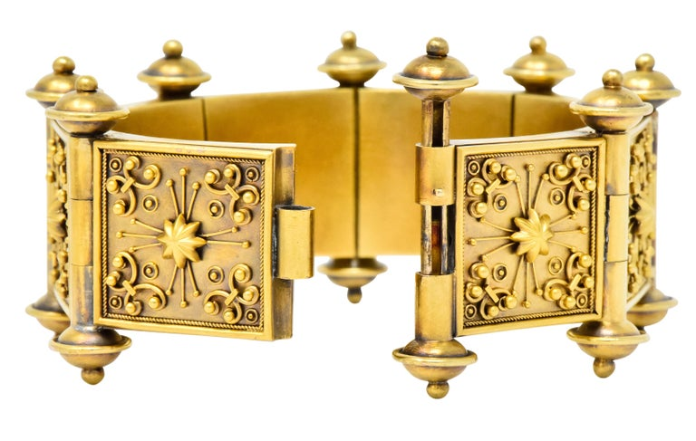 Elaborate Victorian Etruscan Revival 14 Karat Gold Bracelet In Excellent Condition In Philadelphia, PA