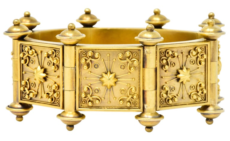 Women's or Men's Elaborate Victorian Etruscan Revival 14 Karat Gold Bracelet
