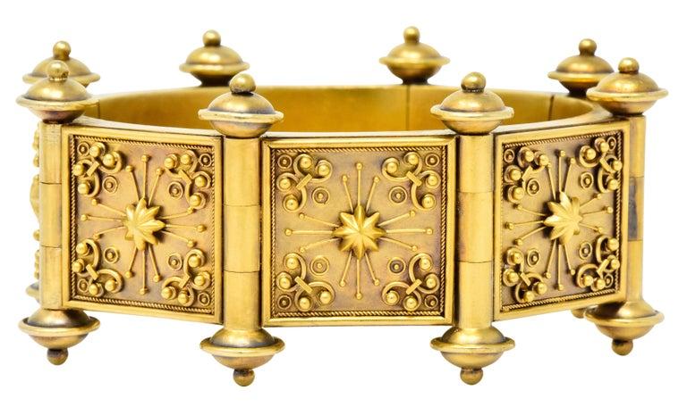 Elaborate Victorian Etruscan Revival 14 Karat Gold Bracelet 1