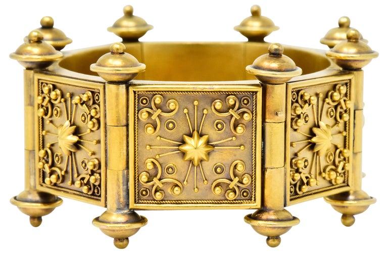 Elaborate Victorian Etruscan Revival 14 Karat Gold Bracelet 2