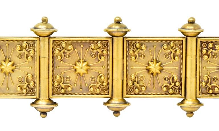 Elaborate Victorian Etruscan Revival 14 Karat Gold Bracelet 4