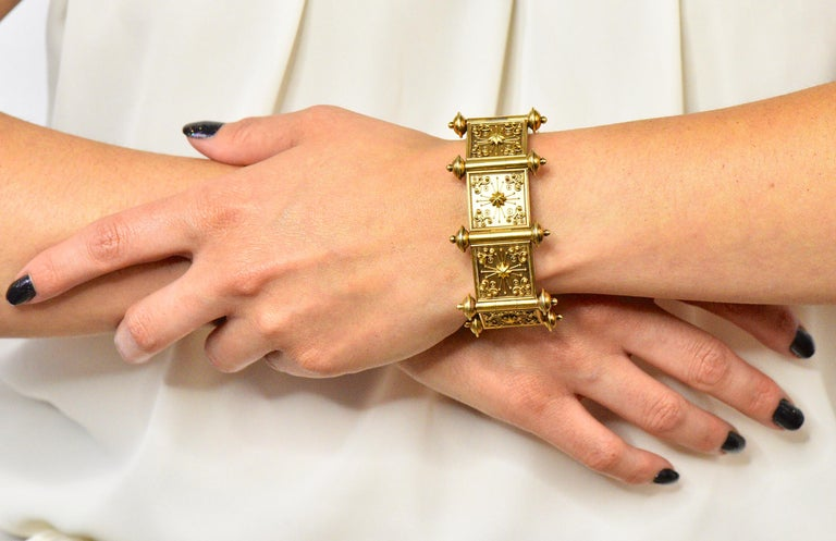 Elaborate Victorian Etruscan Revival 14 Karat Gold Bracelet 5
