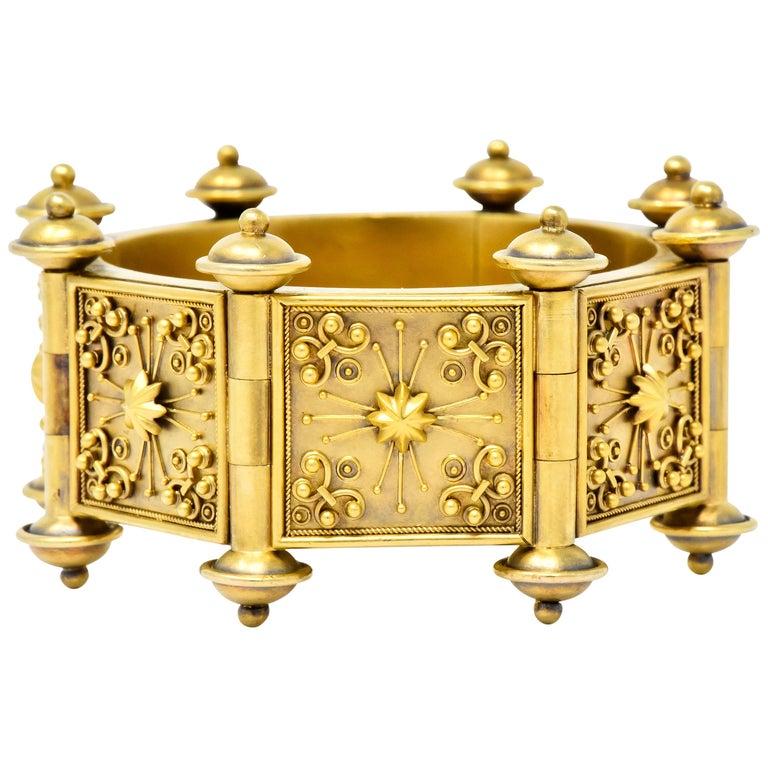 Elaborate Victorian Etruscan Revival 14 Karat Gold Bracelet