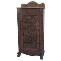 Elaborately Carved 19th Century Anglo-Indian Chest of Drawers
